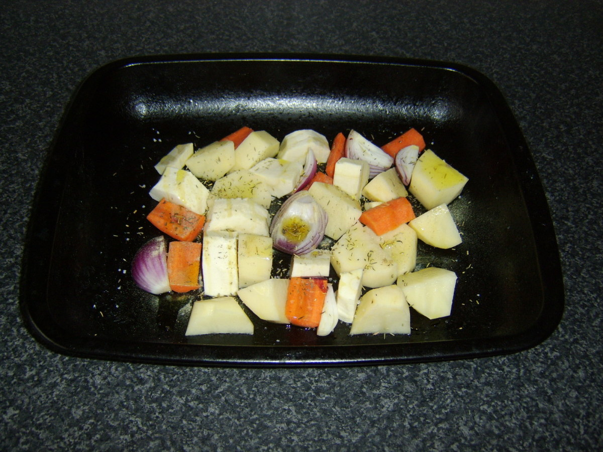 Vegetables are roughly chopped, oiled and seasoned