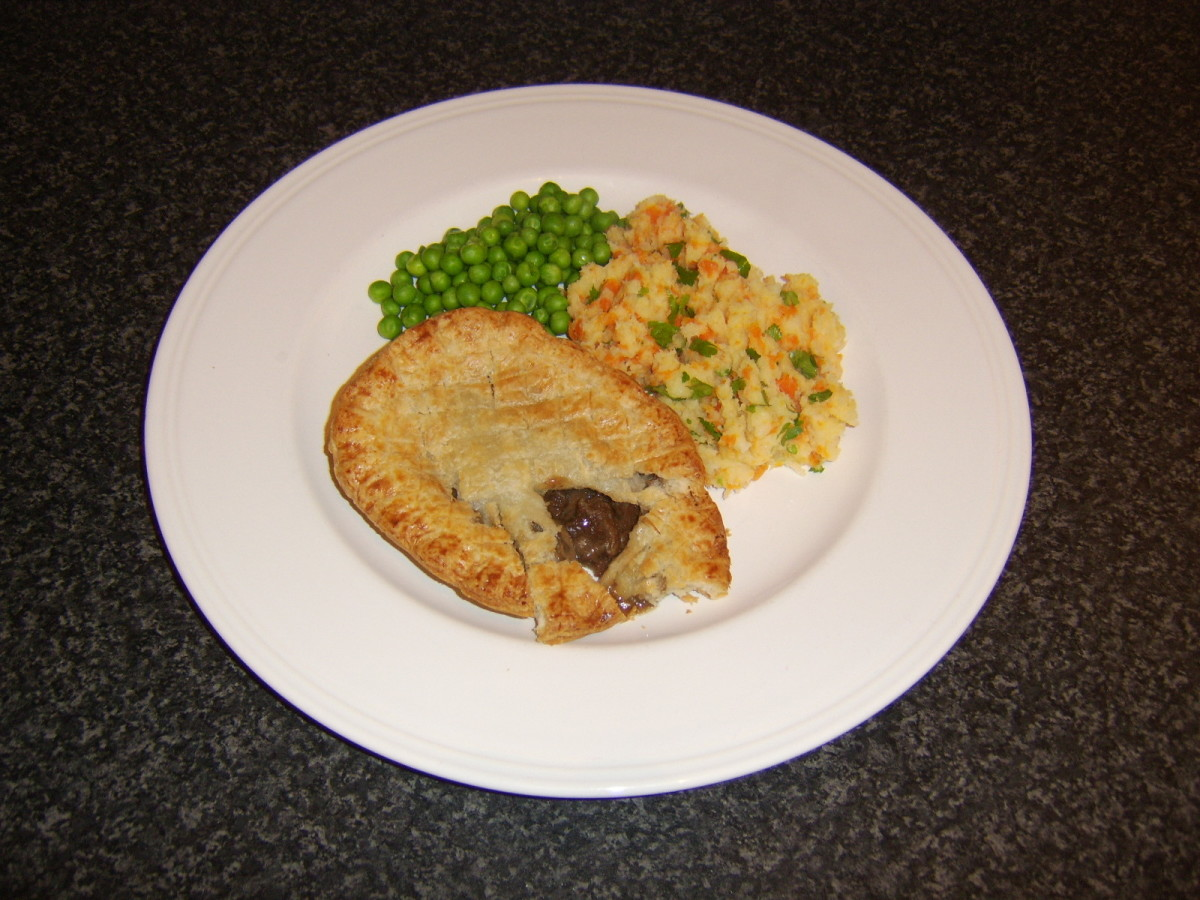Pie and mash with a big difference - the mash is carrot and parsnip