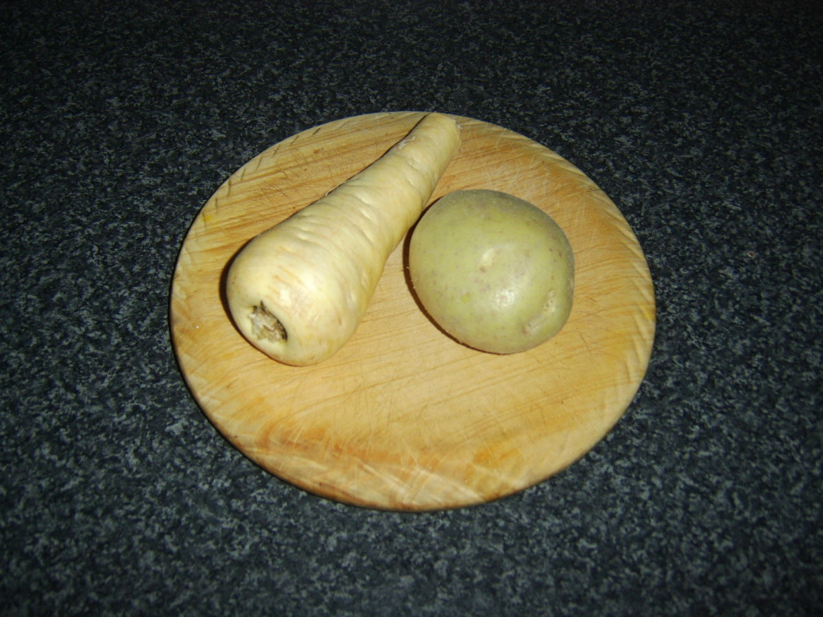 Potato and parsnip of similar sizes are used per serving