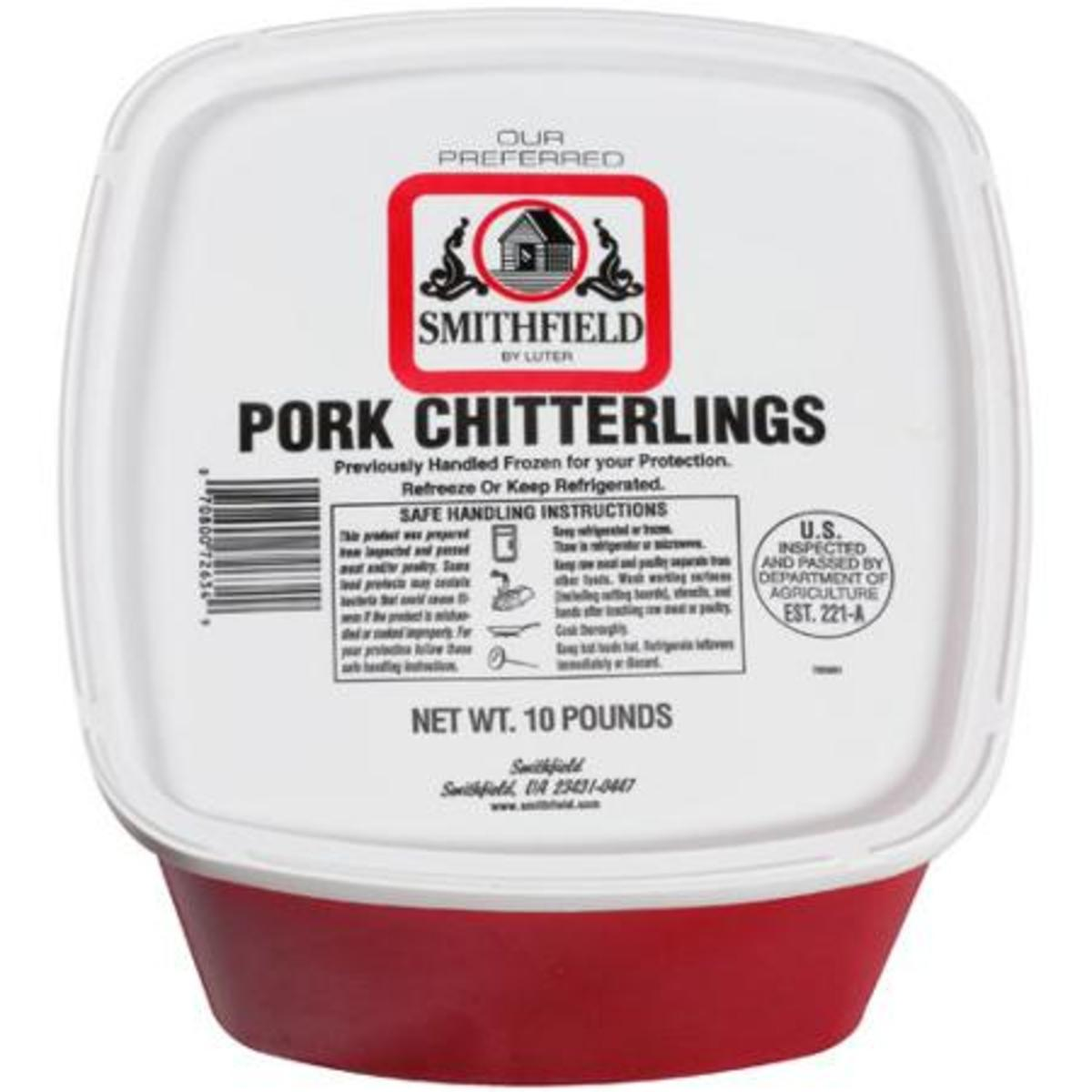 "The famous ""red bucket"" of chitterlings."