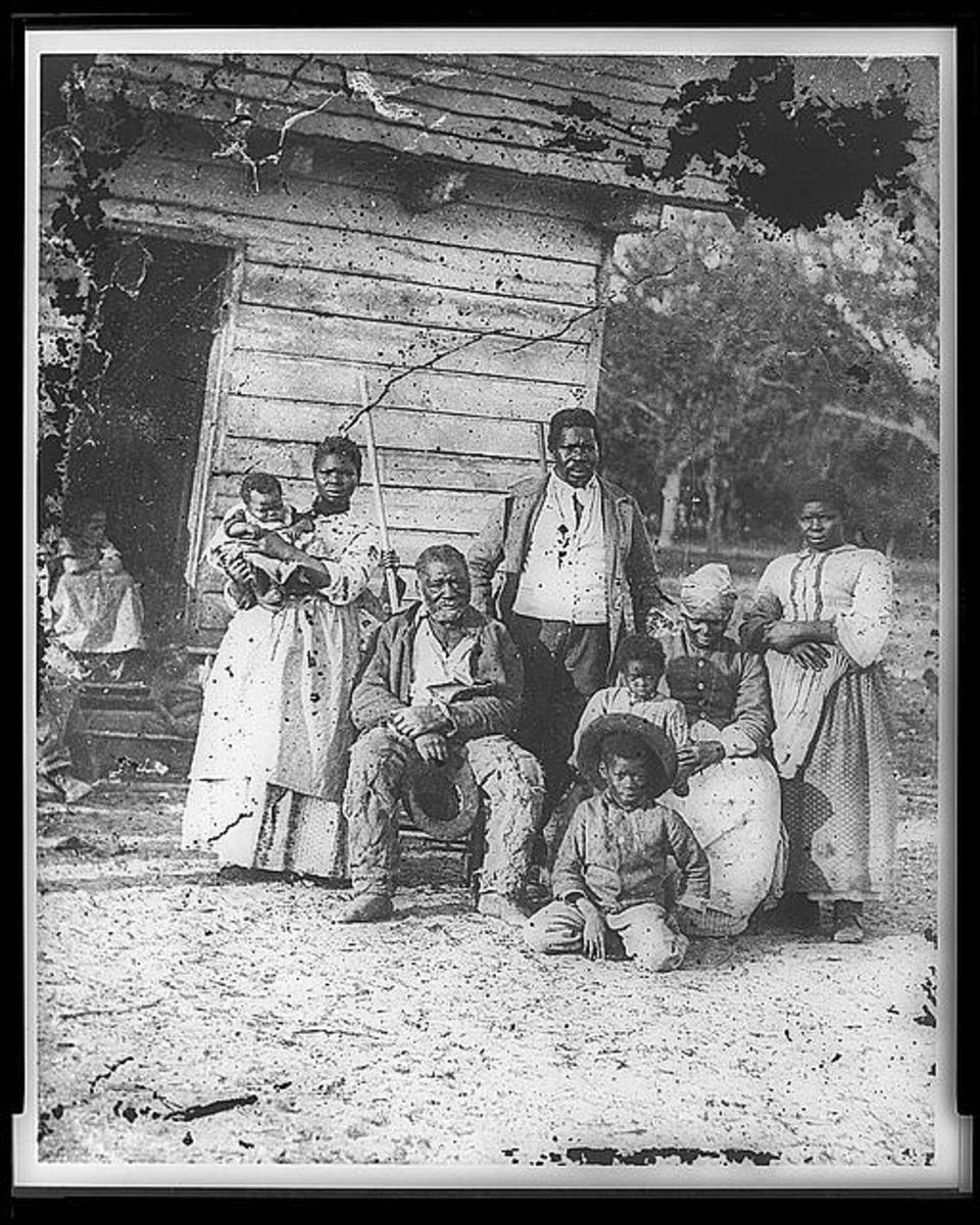 The slave quarters consisted of one room where the entire family slept and ate.