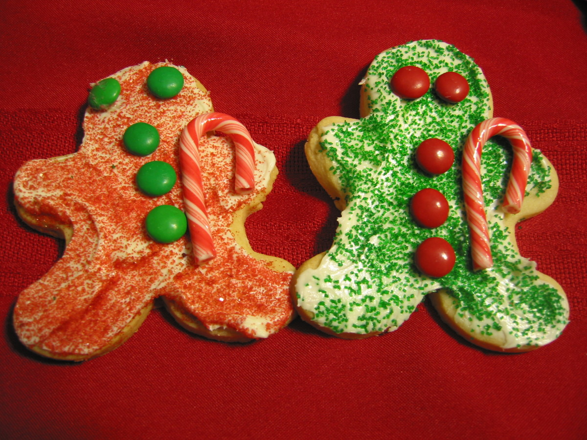 Gingerbread men make with M&Ms. Here are the two red and green versions.  I've also made them with all red, or all green.