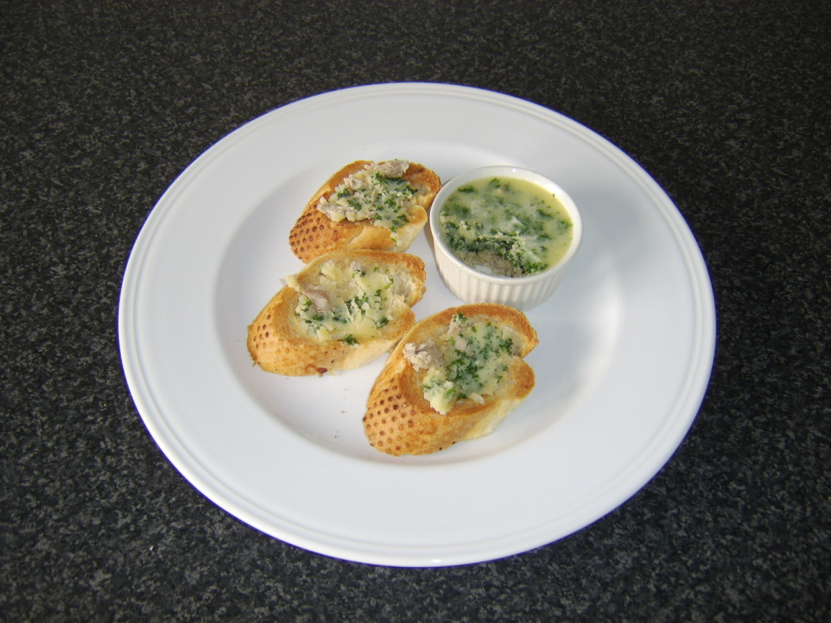 The quail and herb butter is in this instance simply spread on hot toasted bread