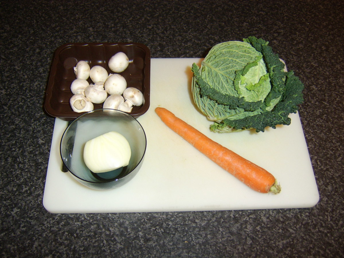 Vegetable ingredients for quail stock soup