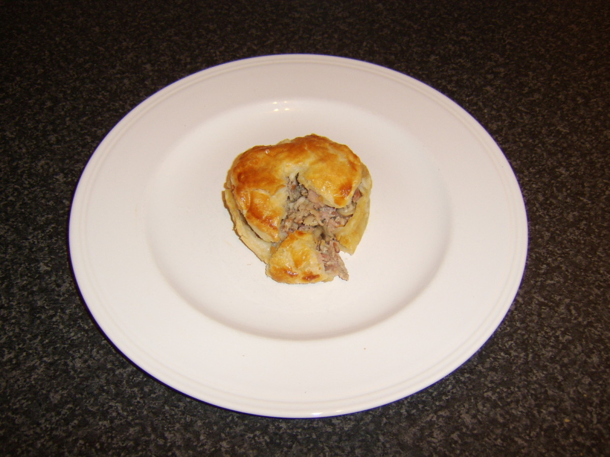 Succulent and meaty quail, bacon and mushroom pie