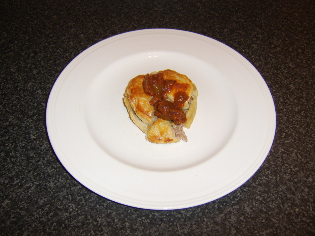 Quail, bacon and mushroom pie with sweet tomato pickle
