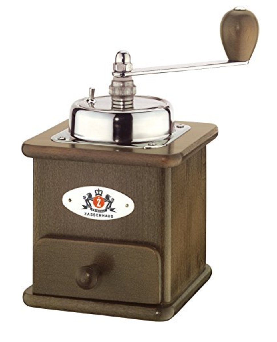 My personal favorite out of the all vintage-style mills, the Zassenhaus is a highly rated grinder for good reason.  Constructed from high quality hardwood, it looks and feels beautiful.  The burr-style mill produces a precision grind.