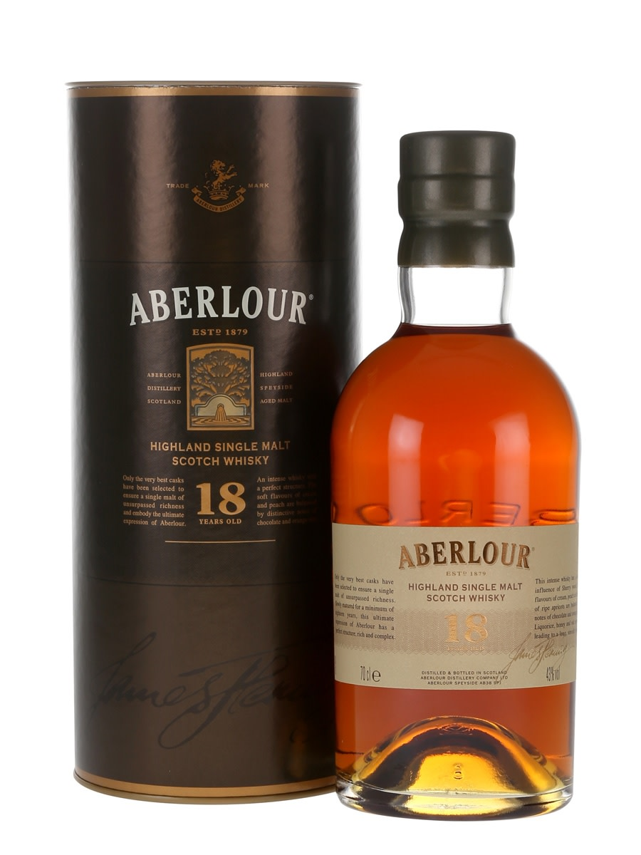 Aberlour 18 Year Old. Finished in sherry barrels, this Speyside single malt pleases my palate with its rich taste of apple and orange, followed by a smooth chocolaty finish.