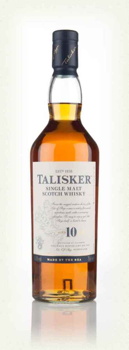 Talisker 10 Year Old. This is a great whisky for taking the edge off the day, in my experience. It's produced on the Isle of Skye using water from local springs.