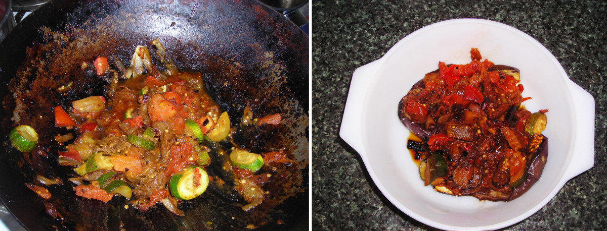 On Left: Onion, eggplant, courgette and tomatoes frying in a pan On Right: Eggplant or aubergine skins stuffed with fried onion, eggplant, courgette and tomatoes.