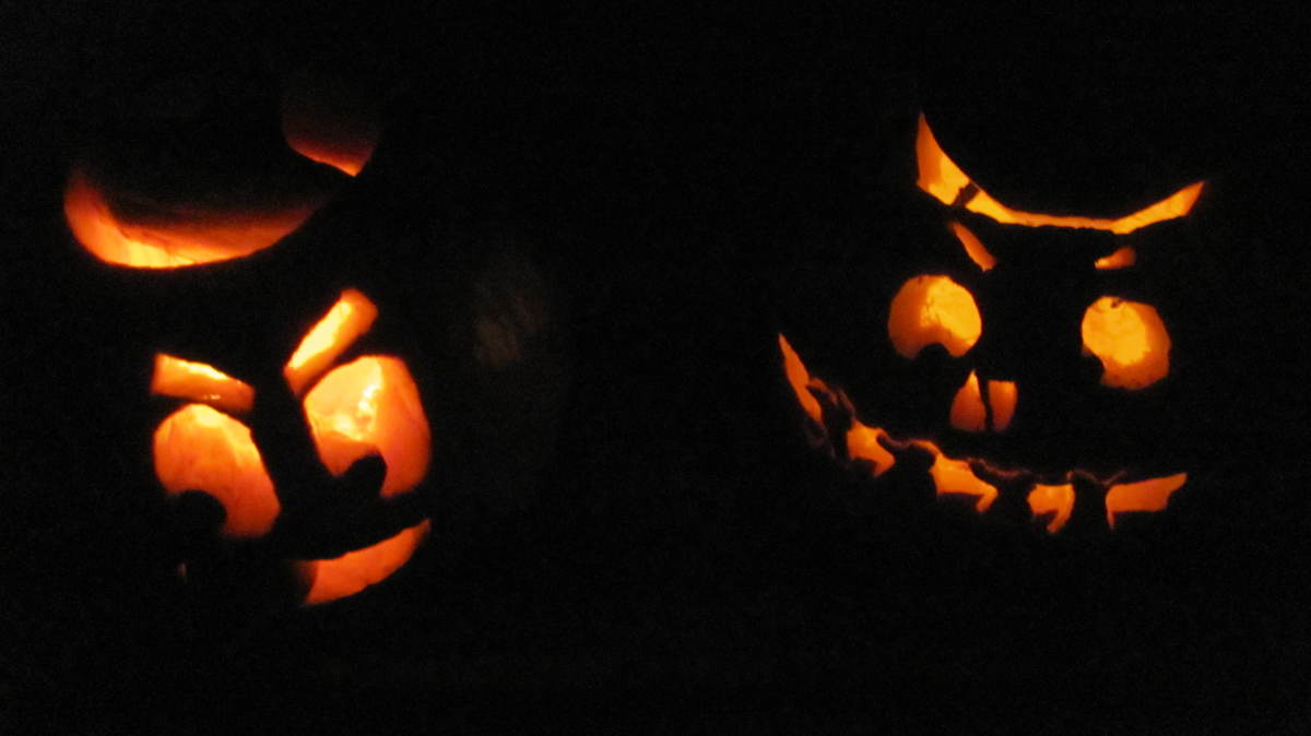 Finished Product. Jack-O-Lanterns Light up the Night Sky
