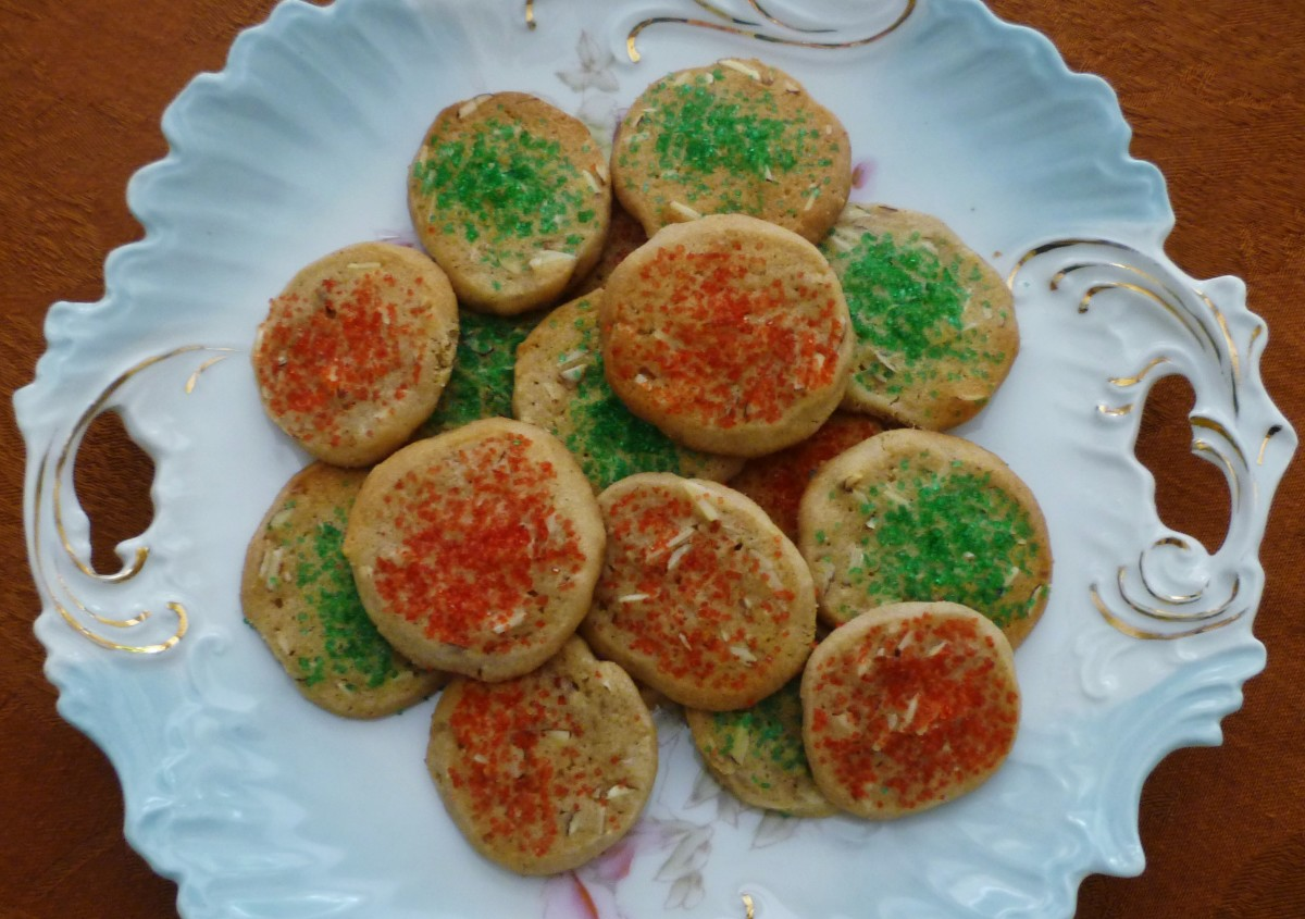 Plate of ice box cookies all dressed up for Christmas gift giving.