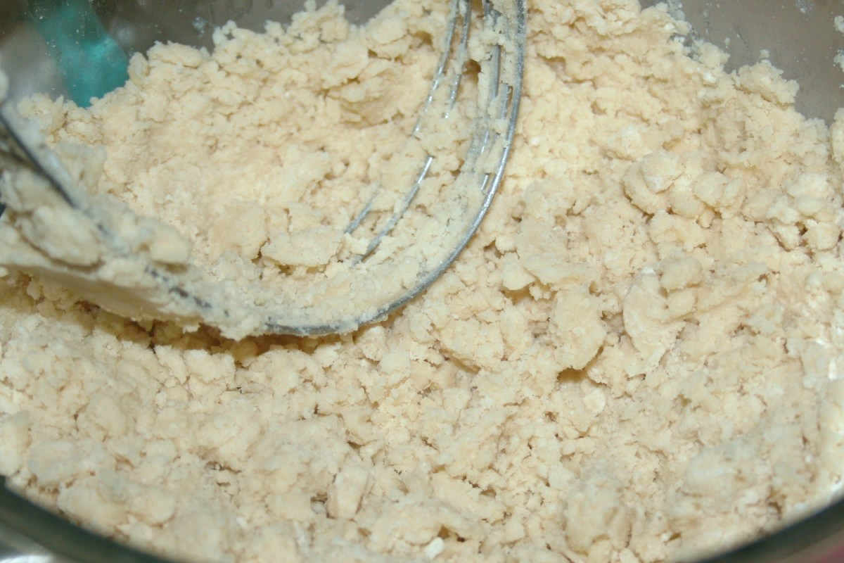 The mixture will eventually look like this. When it does, it's time to add the egg, water & vinegar.