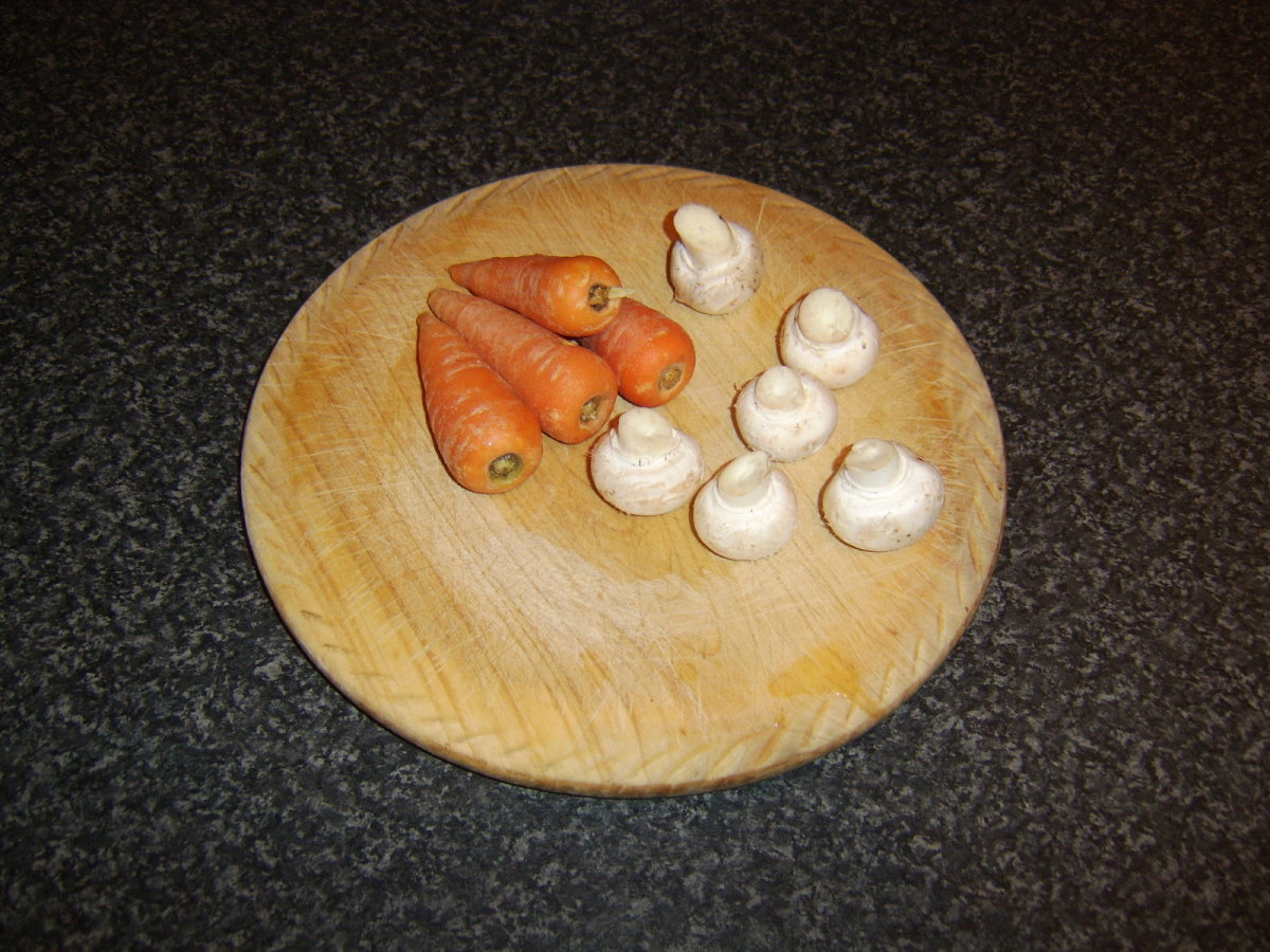Chantenay carrots and button mushrooms