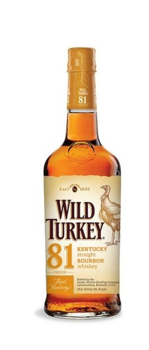 Wild Turkey 81 proof. Bumped up to 81 from 80 proof, this is a flavorsome drink with a smokey taste. Slightly less alcoholic than most bourbons, this has a delicious punch.