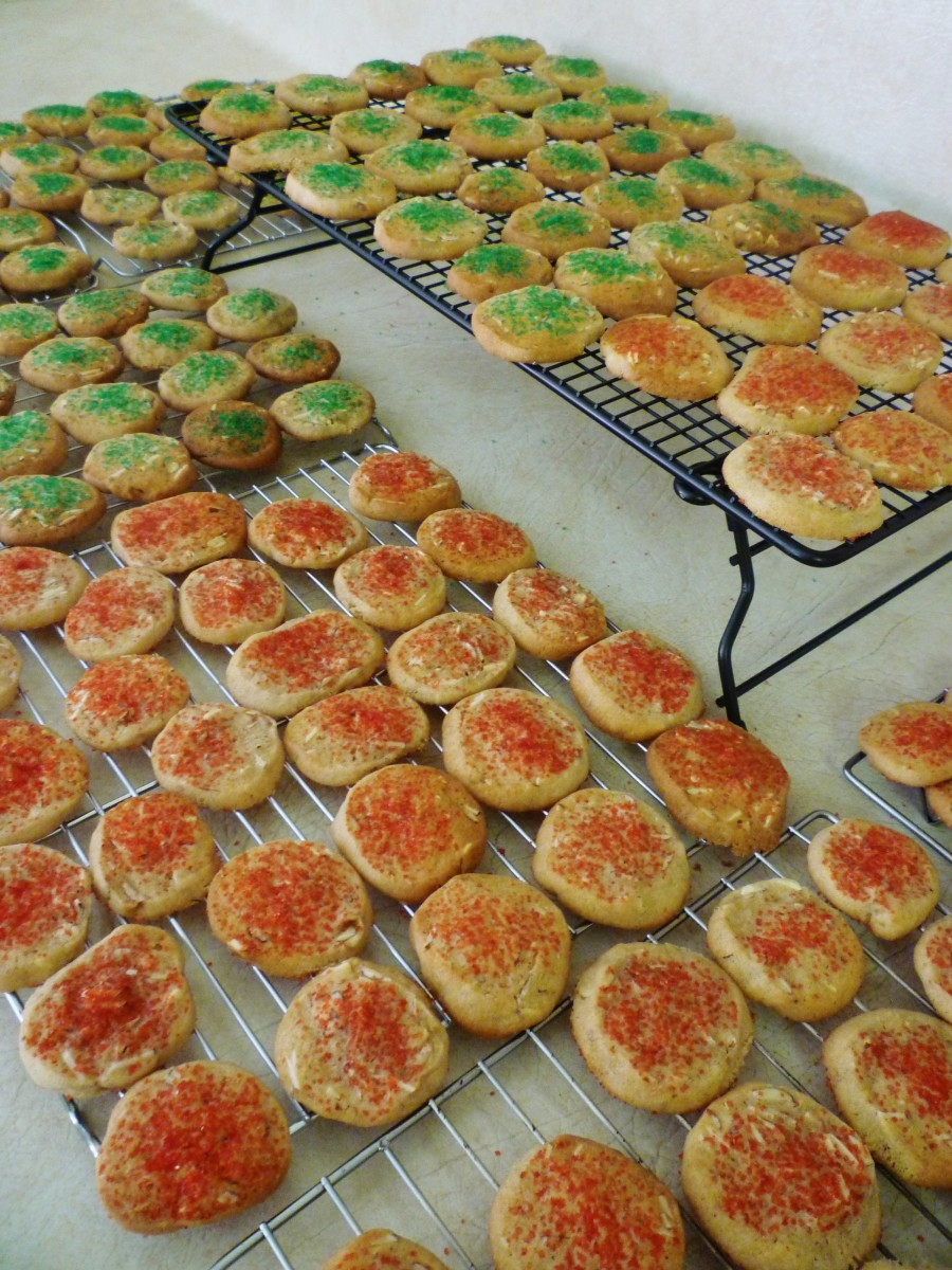 Ice box cookies being cooled on wire racks.