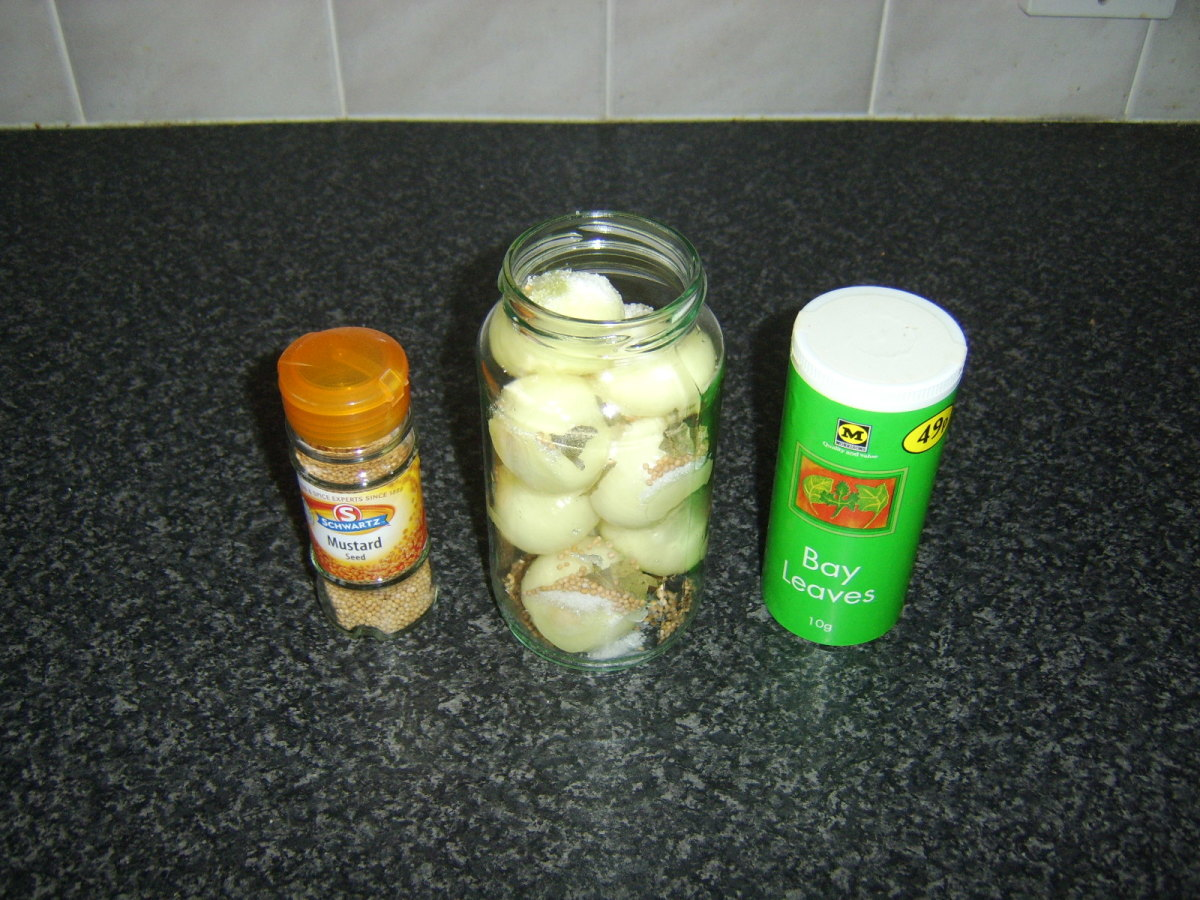 Onions and pickling spices are added to a jar.