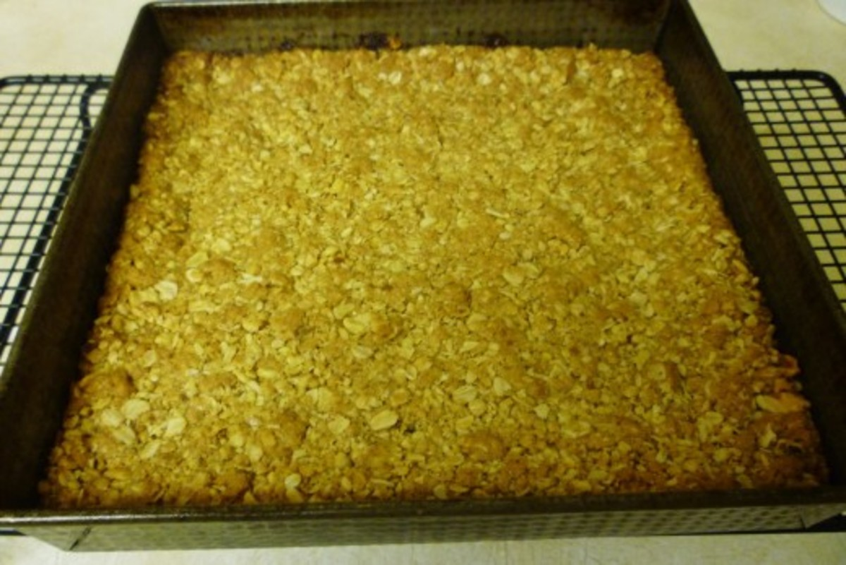 Let cool in pan after being baked. When completely cooled, cut into squares.