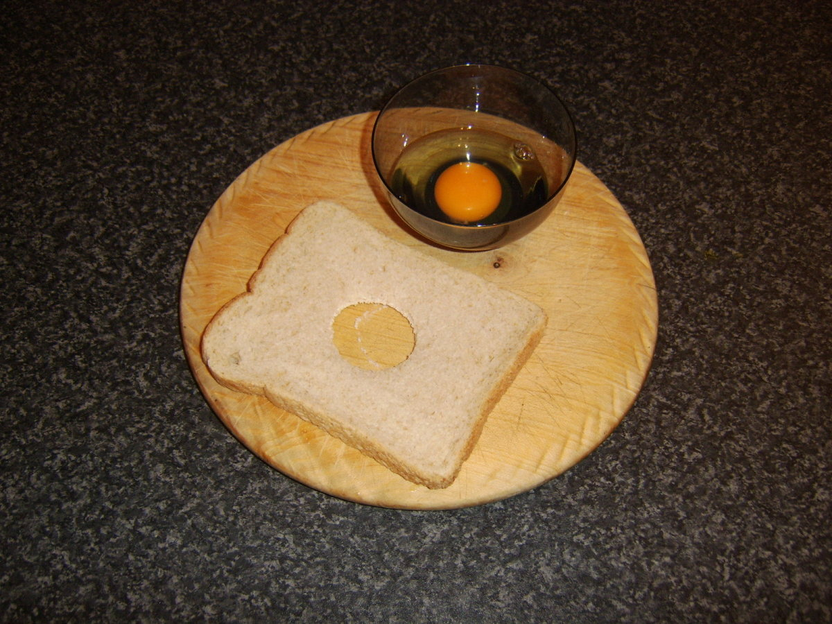 Bread and egg ready to be fried