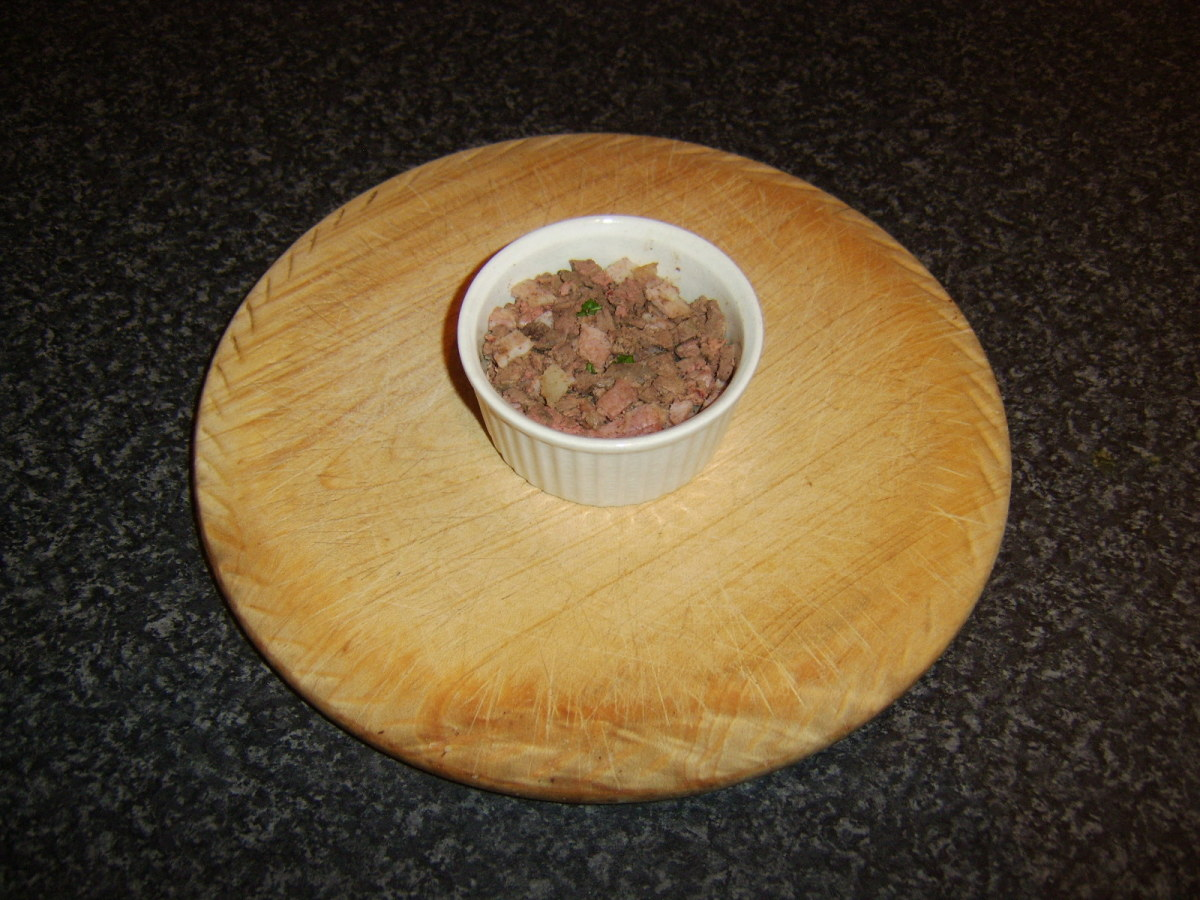 Chopped chicken livers, bacon and seasoning for pate