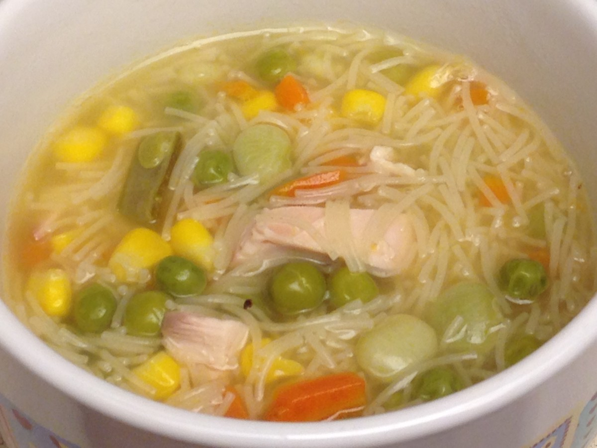 Turkey Noodle and Vegetable Soup made with fideo noodles