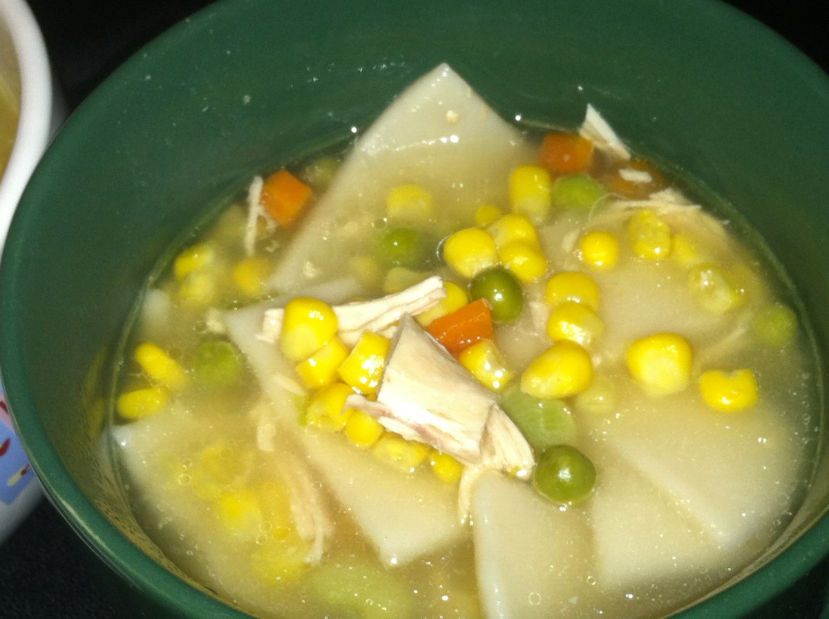 Turkey and Dumpling Soup made with diced leftover turkey, mixed vegetables, and frozen dumplings