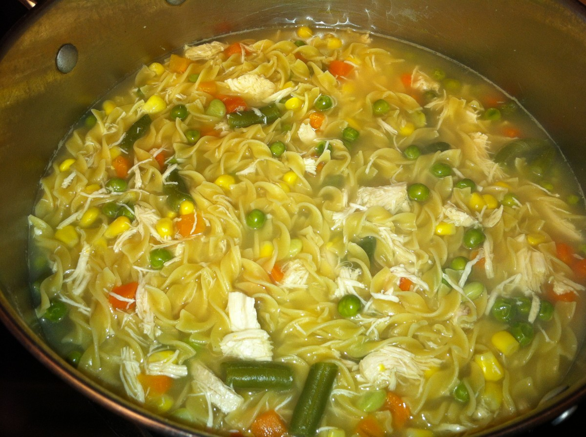 Turkey Noodle Soup made with diced leftover turkey, mixed vegetables, and egg noodles