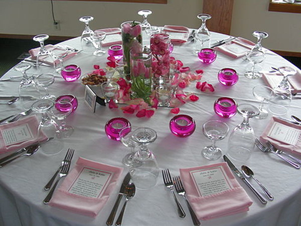 Place setting for bridal shower or small wedding rehearsal dinner.