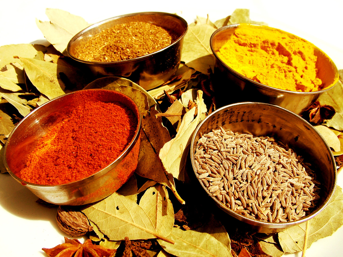 Turmeric, cumin, and other spices.