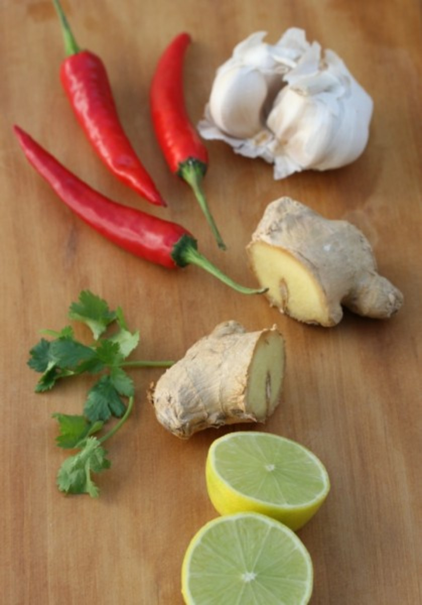 Some of the other ingredients: lime, ginger, garlic, and chillies.