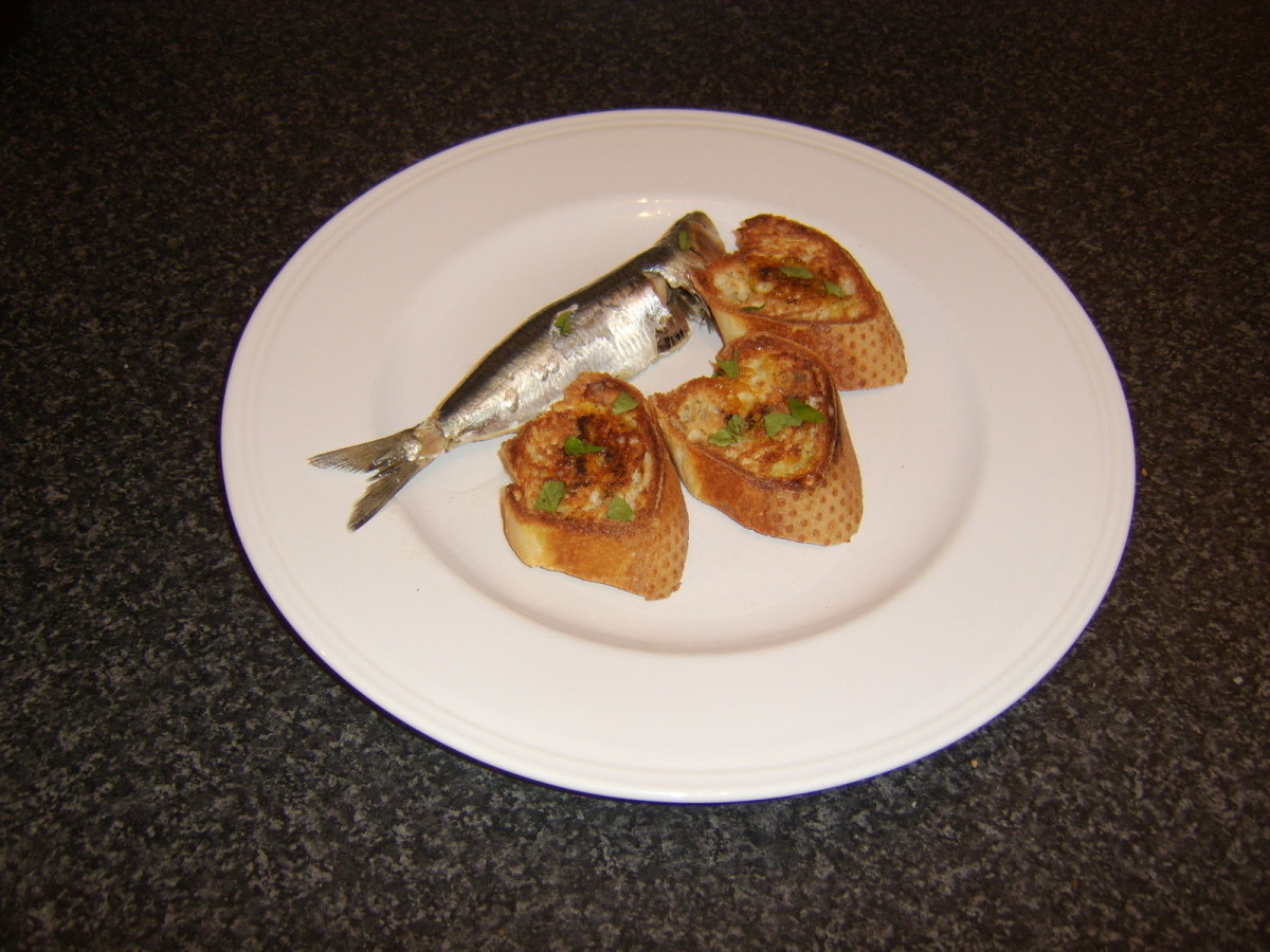 This sardine was poached and allowed to cool before being served with some hot bruschetta