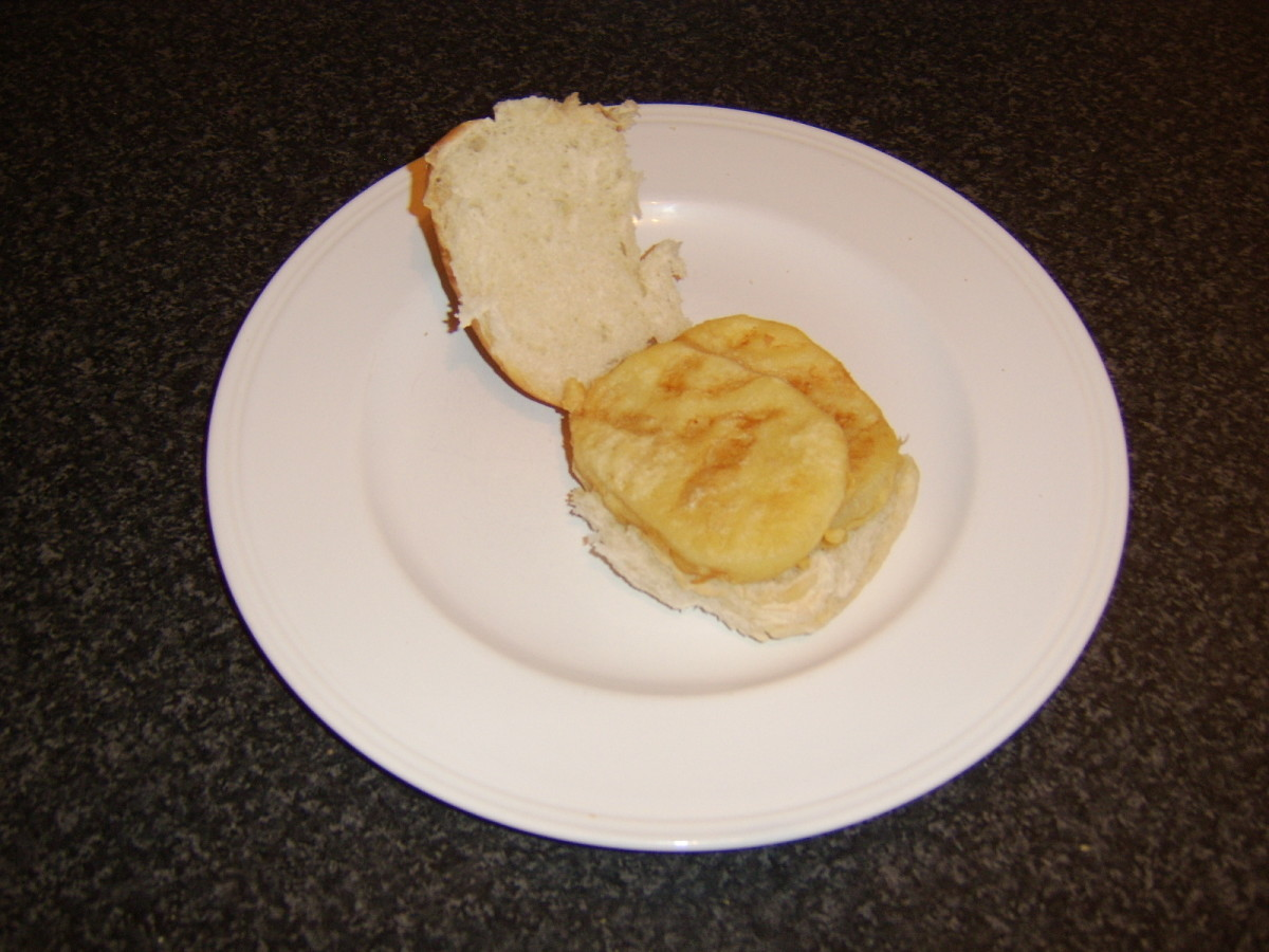 A Scottish morning roll with fritter(s) is a hugely popular option from fish and chip shops in Scotland.