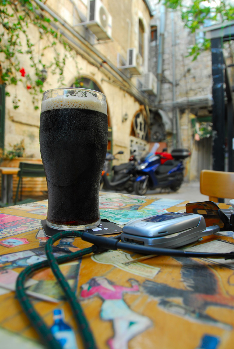 Beer on outdoor pub table