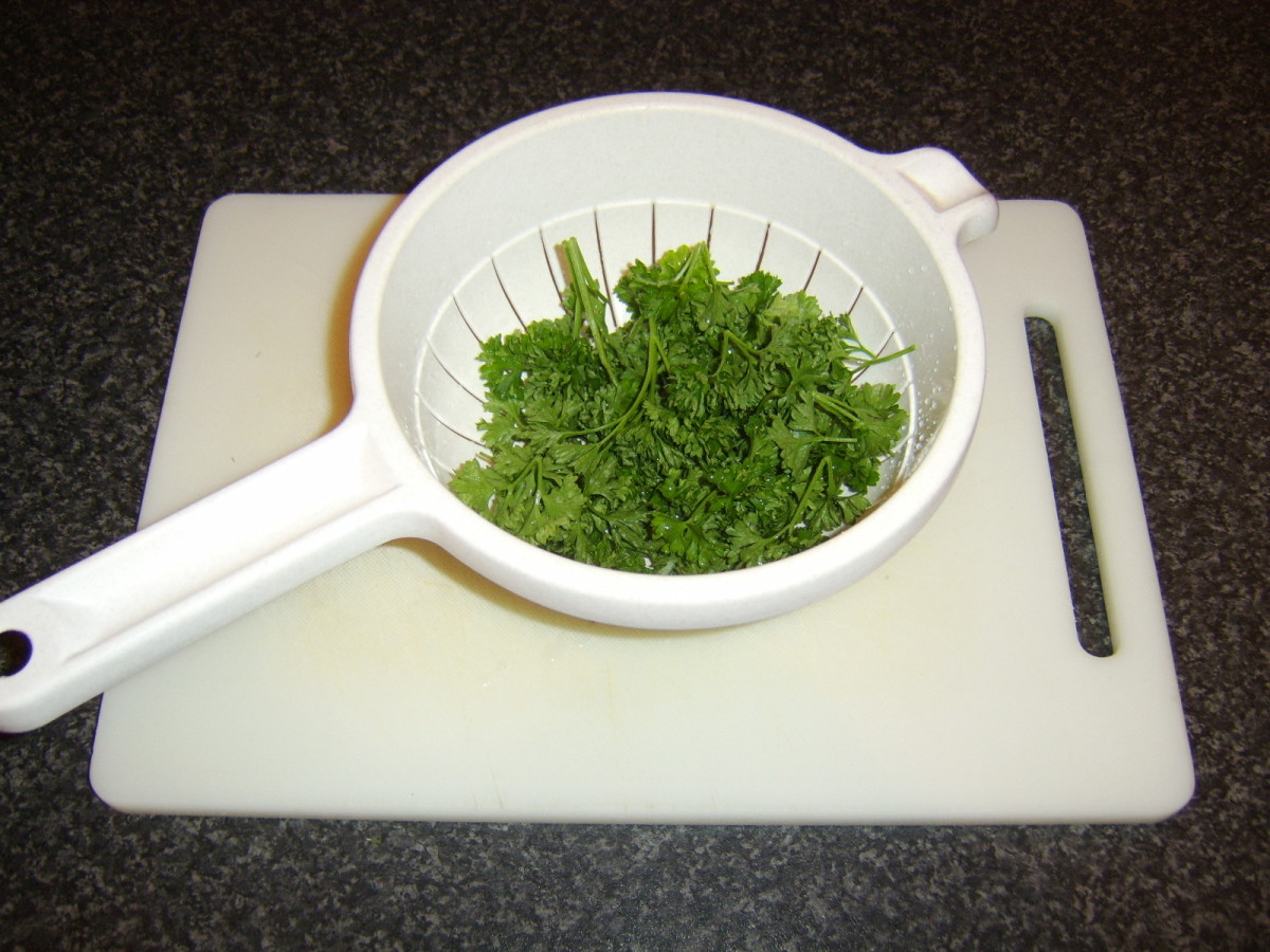 Parsley should firstly be washed through a colander