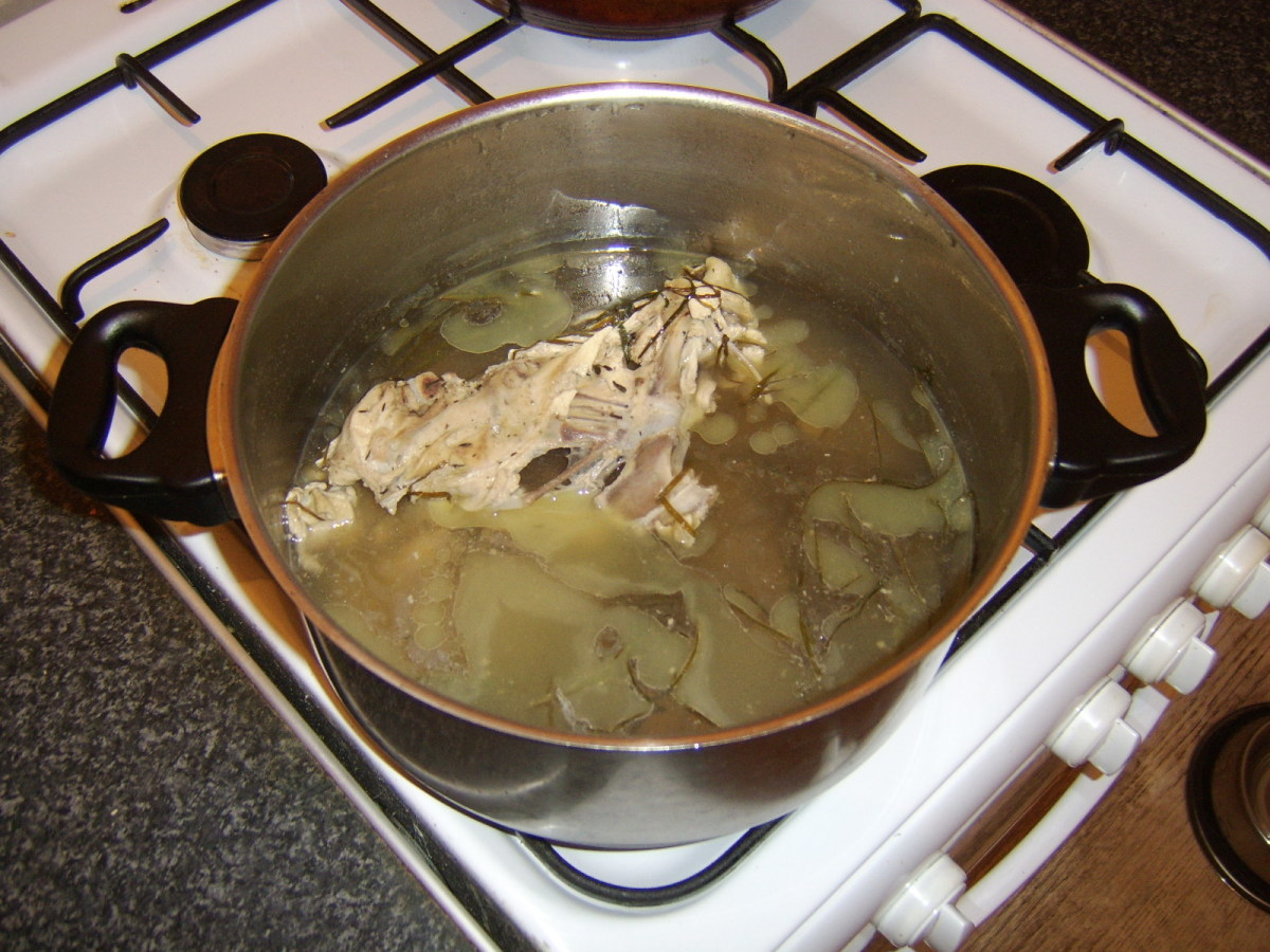 The cooled chicken broth infusion does not look particularly appealing in its initial form