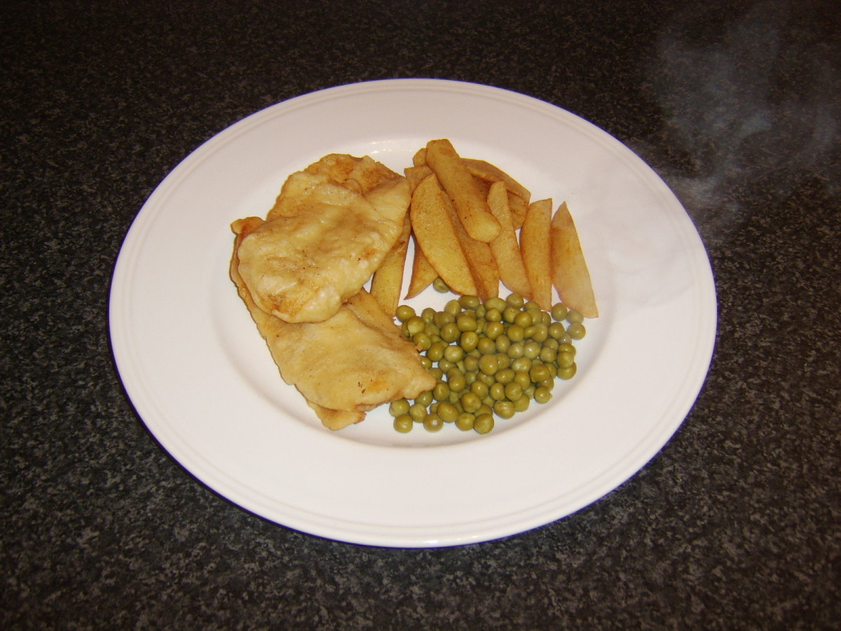 Basic fish, chips and peas