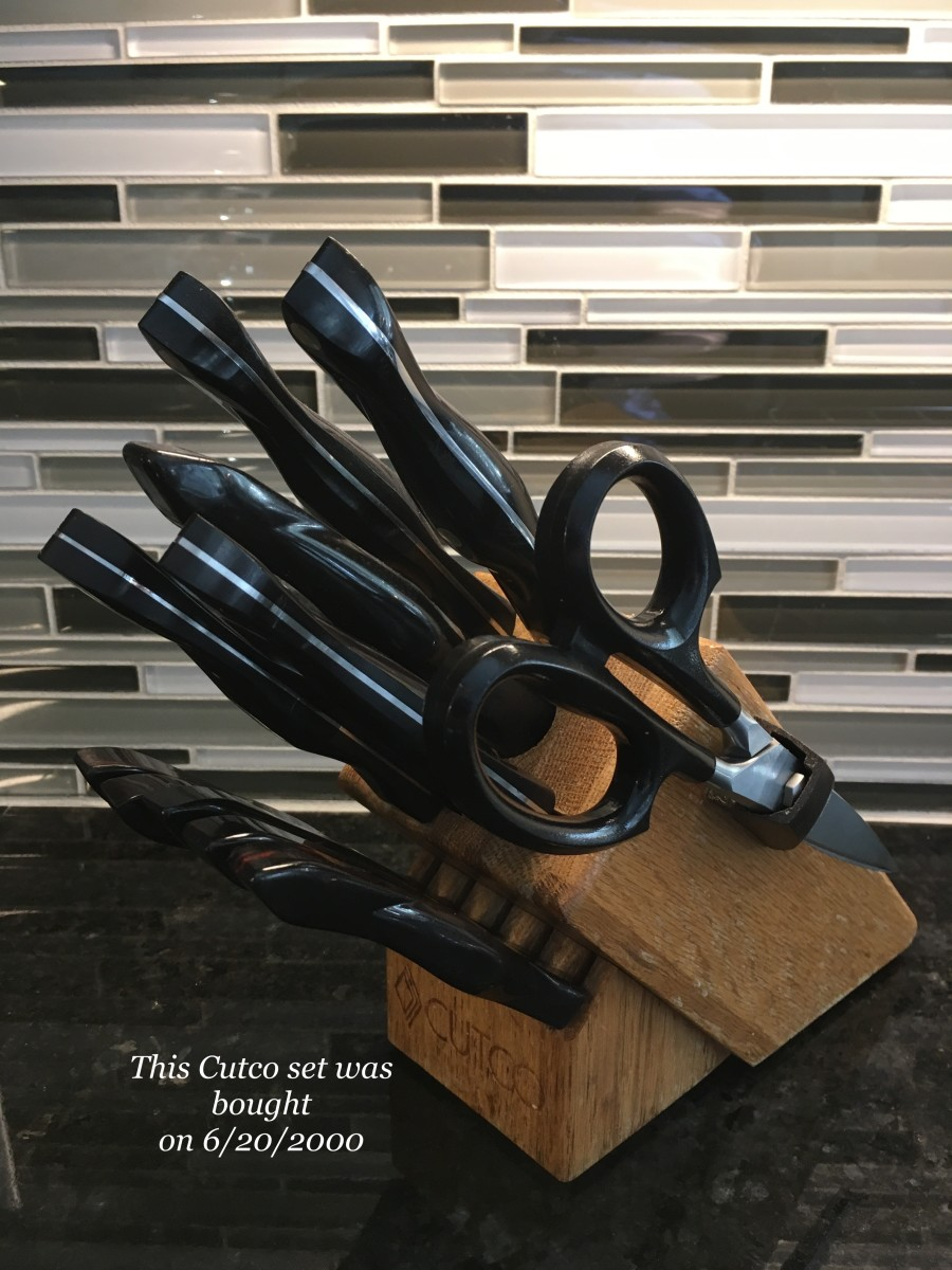 Complete set of Cutco knives with the worlds sharpest scissors.