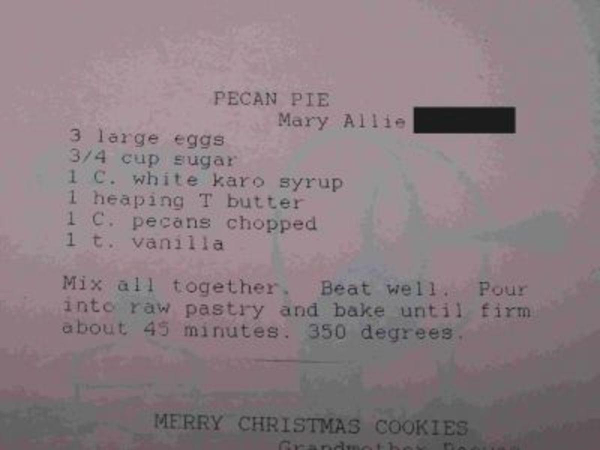 My great-grandmother's pecan pie recipe