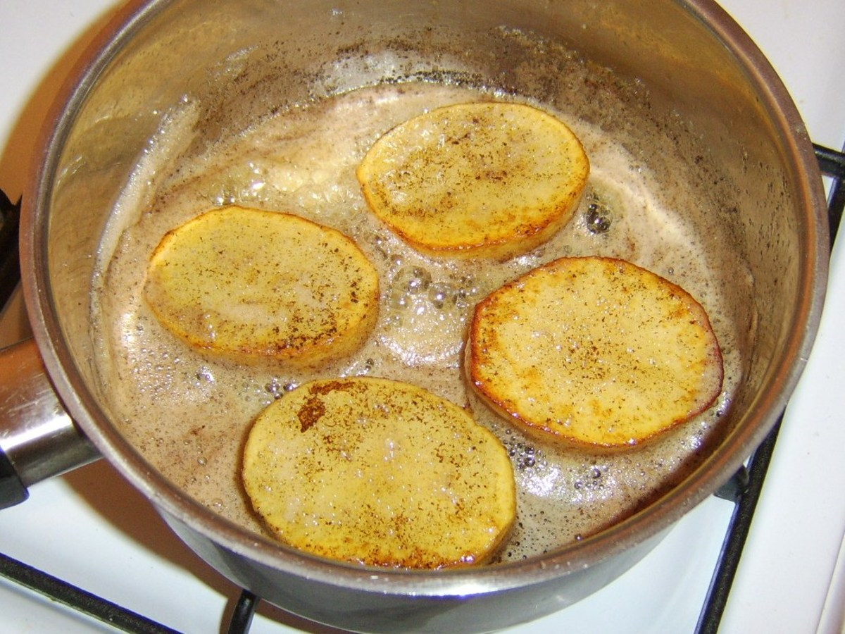Golden potatoes ready for chicken stock