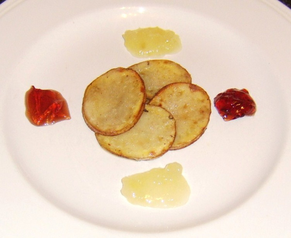 Potato discs form bed for partridge breast