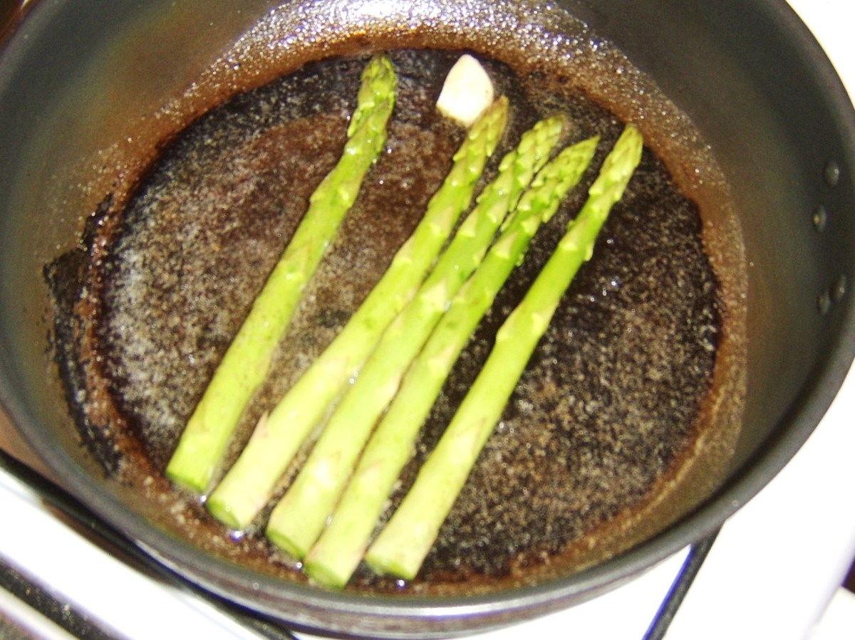 Sauteeing asparagus in butter
