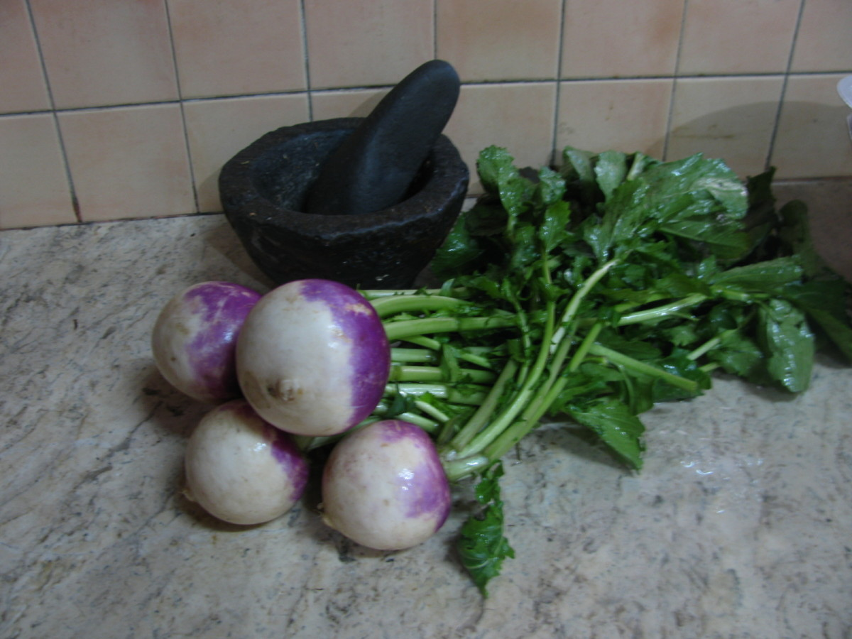 Turnips with the green tops still attached