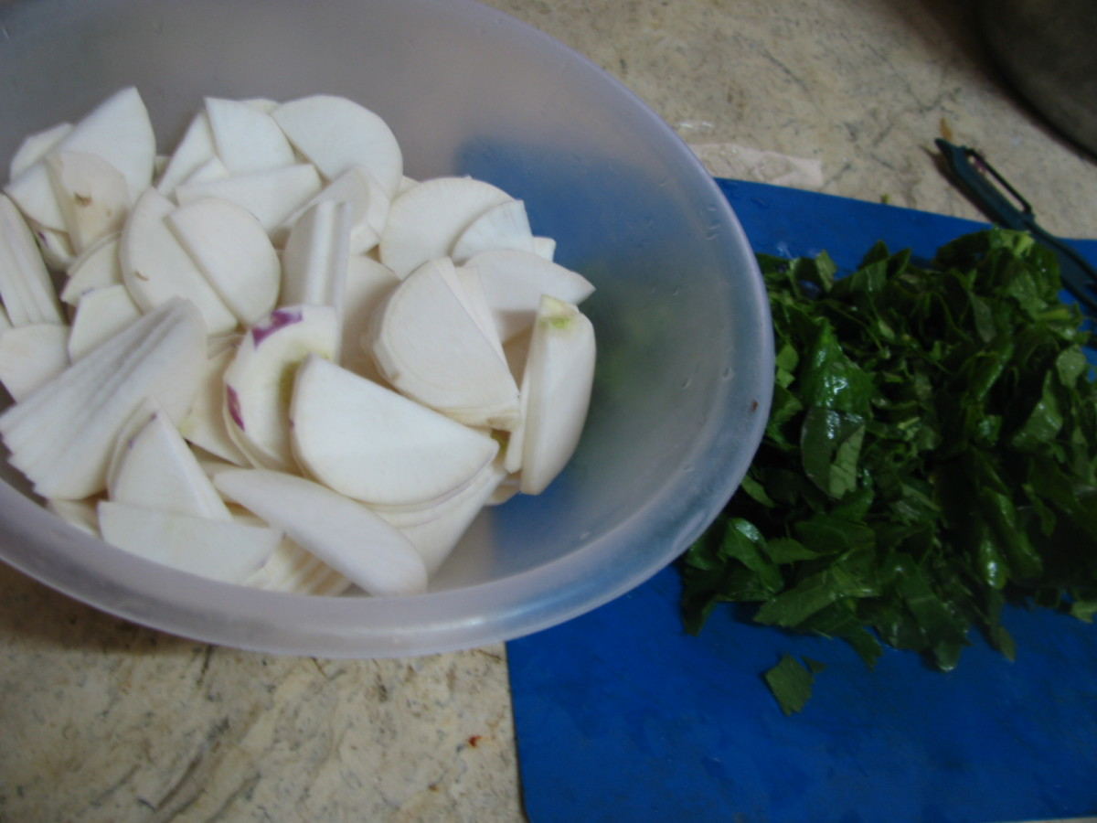 Turnips and greens prepared