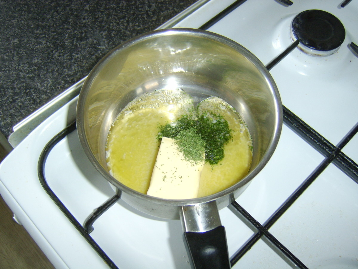 Dried dill is added to melting butter