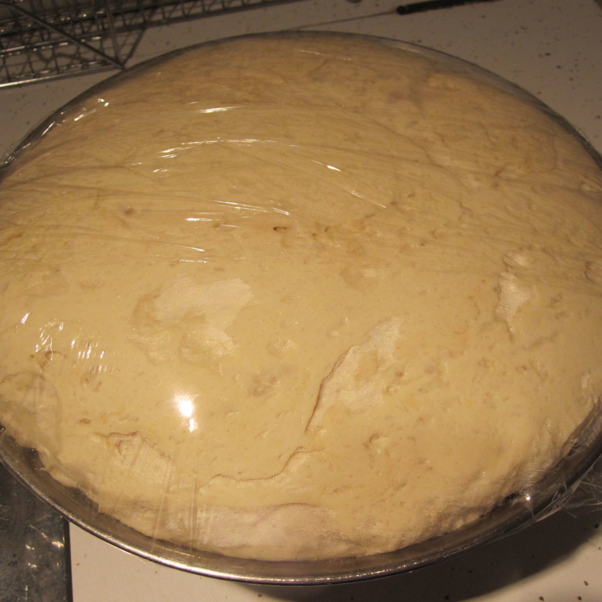 Dough fully risen for first time.
