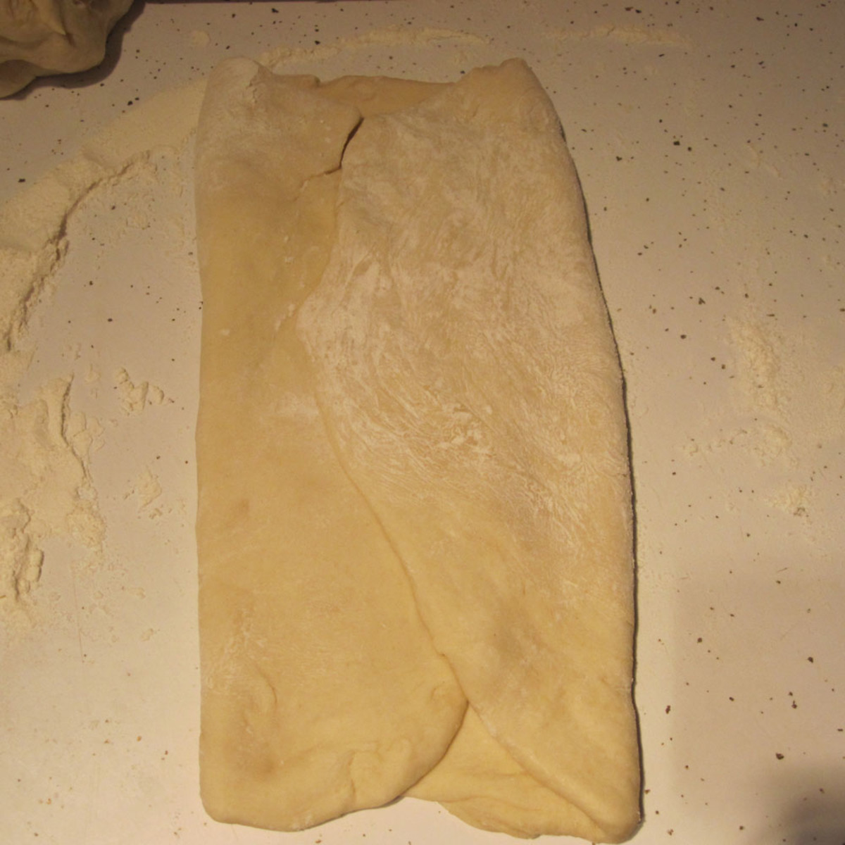 Folding dough in thirds while shaping into loaf.