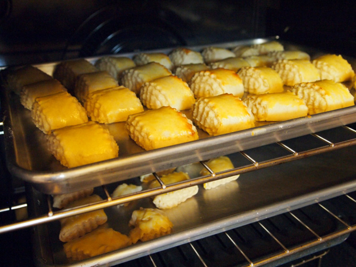 Baking in the oven.