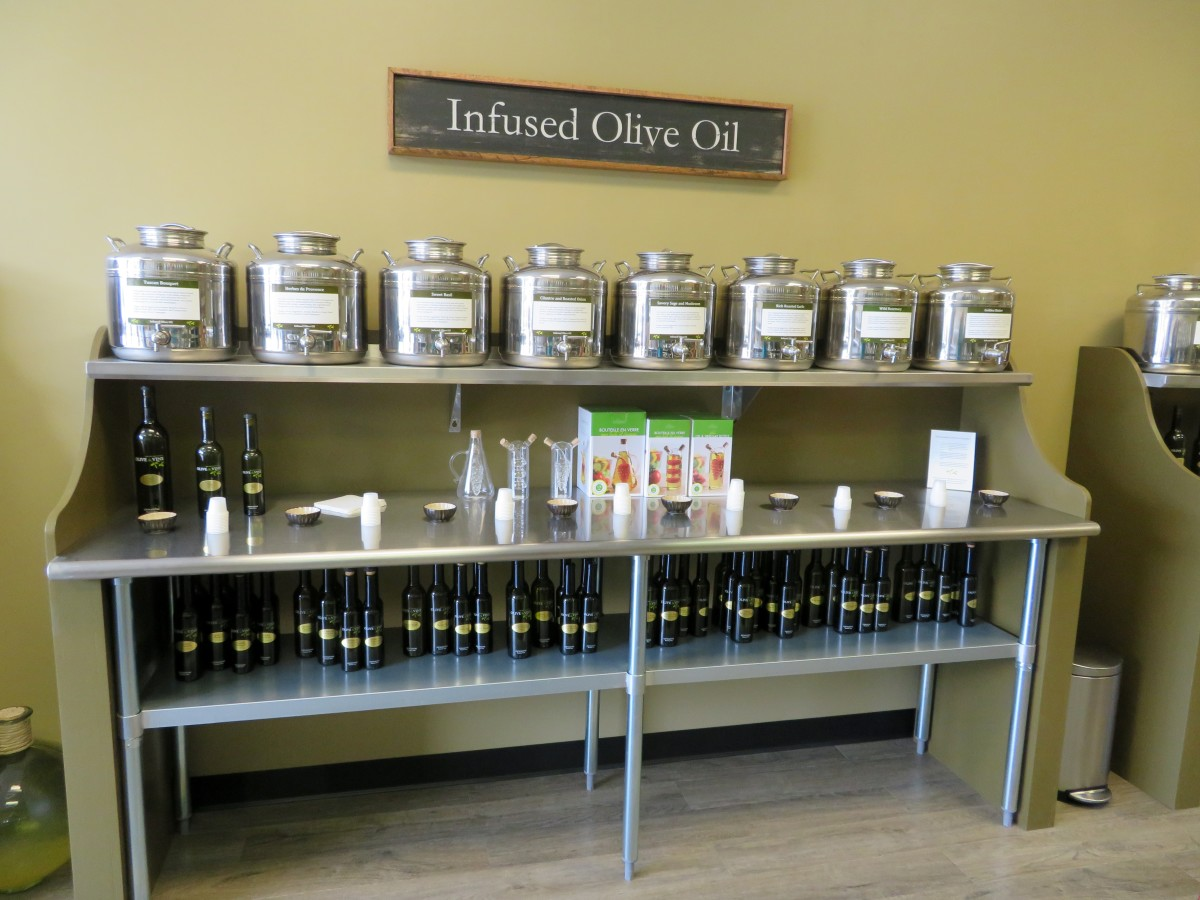 Some of the many superior olive oils which can be sampled prior to purchasing.