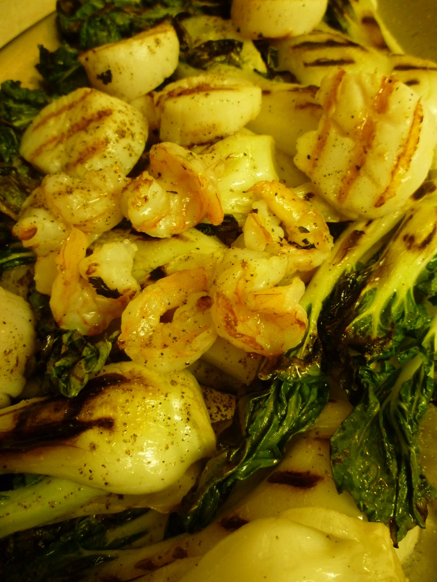 Herbes de Provence EVOO used to flavor grilled baby bok choy, shrimp and scallops.