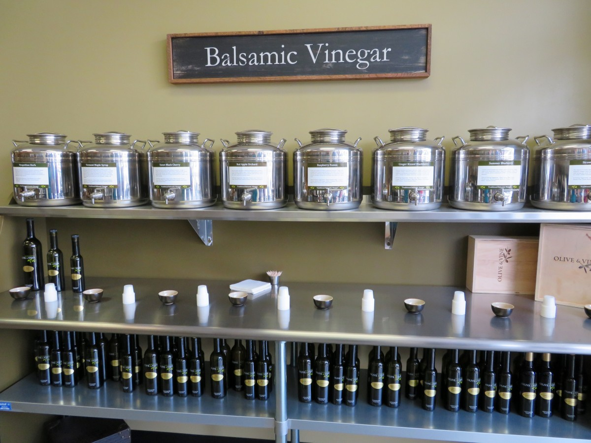 Come in and sample balsamic vinegar at the Olive & Vine.